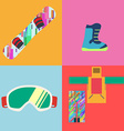 set flat style snowboard icons vector image vector image