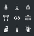 set g8 countries symbols icons vector image vector image