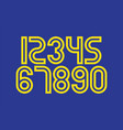 set numbers with blue and yellow typography vector image vector image