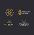set retro vintage honey and bee honeycomb vector image