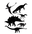 silhouettes dinosaurs vector image vector image
