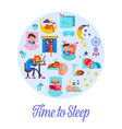 sleep time flat cartoon set vector image vector image