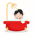 small girl characters in the bathroom vector image