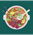 soup with noodles vector image vector image