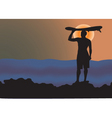 surfer sunrise vector image vector image