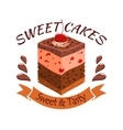 Sweet cake with berries Bakery shop emblem vector image vector image