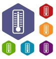 Thermometer indicates high temperature icons set vector image vector image