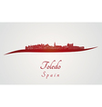Toledo skyline in red vector image vector image