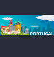 travel banner to portugal flat