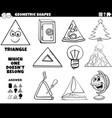 triangle shape educational task for kids coloring vector image vector image