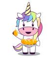 unicorn with mangos on white background vector image vector image