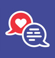 valentine heart solid icon with two chat bubble vector image vector image