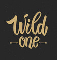 wild one hand drawn lettering phrase on grunge vector image vector image