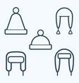 winter hat icon set symbol vector image vector image