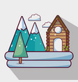 winter weather season with cabin and mountains vector image