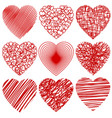 set of abstract stylized hearts isolated on white vector image