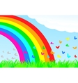 A butterfly flies through the rainbow vector image
