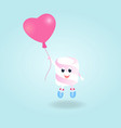 a funny boy marshmallow with balloon cartoon vector image vector image
