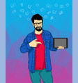 a hipster man with the beard standing with a vector image vector image
