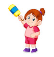 beautiful girl holding the duster to clean vector image