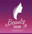 beauty salon logo design with woman silhouette on vector image vector image