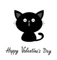 black cute sitting cat bakitten silhouette vector image vector image