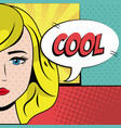 blonde girl cool bubble speech pop art background vector image vector image