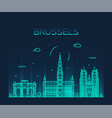 brussels skyline belgium linear style city vector image vector image