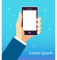 business hand holding smartphone vector image