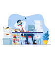 business man is sleeping at his workplace vector image vector image