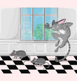 cat attacking mice cartoon character funny vector image vector image