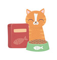 cats make me happy tabcat with bowl and box of vector image