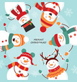 christmas card round dance snowmen vector image vector image