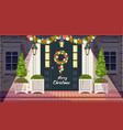 christmas decoration entrance doors vector image
