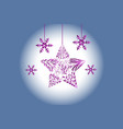 christmas tree ball ornament flakes greetings card vector image vector image