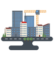 City street with urban buildings vector image vector image