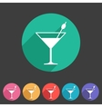 cocktail icon flat web sign symbol logo label vector image vector image