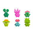 cute plants characters set friendly fantasy vector image vector image