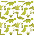 cute seamless pattern with cartoon dinosaurs vector image vector image
