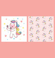 cute unicorn horse playing maracas and pattern vector image vector image