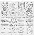 Doodle framebrusheswreath decor setBlack vector image