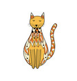 doodle ornamental cat oriental feline character vector image vector image