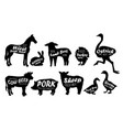 farm animals logo vintage textured silhouettes vector image