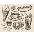 fast food hand drawn cup coffee tea sandwich vector image