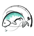 fish and spinning design vector image vector image