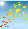 flying paper airplanes vector image vector image