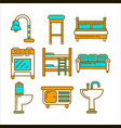 furniture of bright colors and minimalistic design vector image vector image