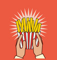 hand holding french fries fast food vector image