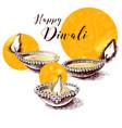 happy diwali background with hand drawn lit diya vector image vector image
