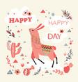happy lama card vector image vector image